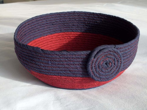 blue and red bowl