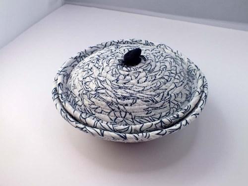 blue white lidded pot